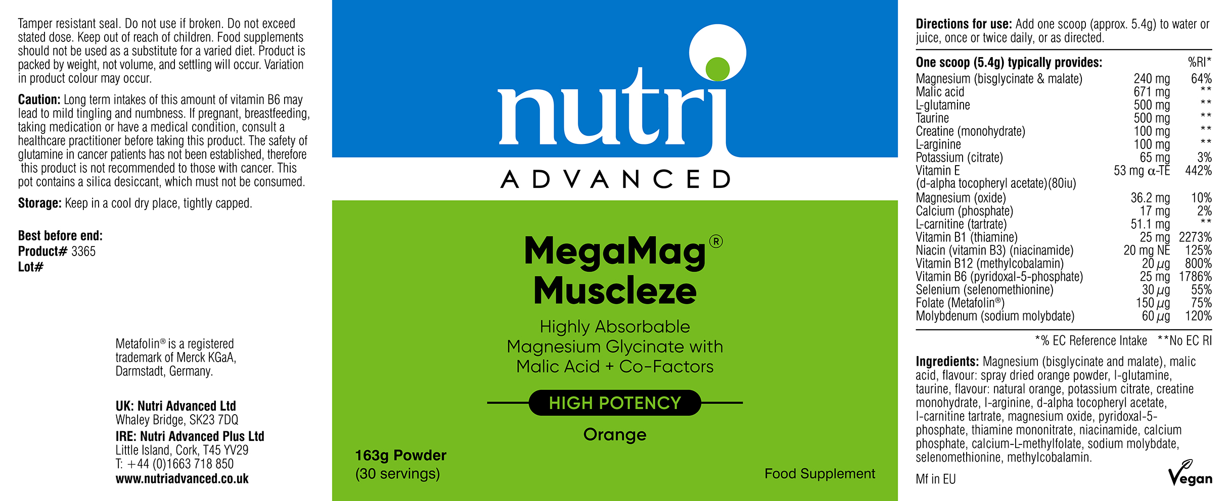 MegaMag Muscleze 162g (30 servings): The Natural Dispensary