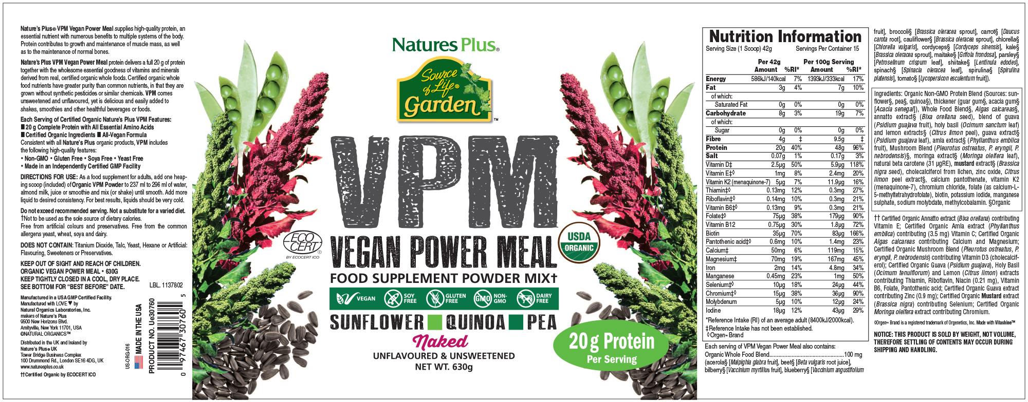 Natures Plus, Source of Life Garden, VPM Vegan Power Meal